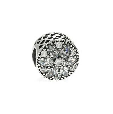 S925 Sterling Silver EURO Charm Sparkling Radiant Bloom Flower Clear CZ