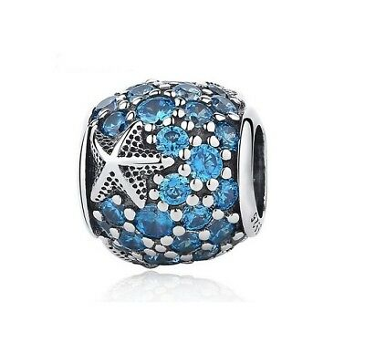 S925 Sterling Silver EURO Charm Sparkling Oceanic Starfish Blue Crystals
