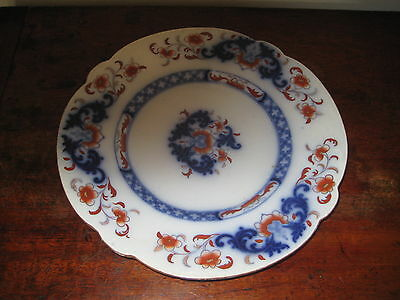 Attractive Mid 19Th Century English Plate Red & Blue Oriental Flowers
