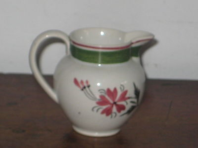 Antique Pottery Cream Jug Hand Painted Flower Design