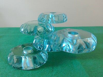 Art Glass Contemporary Candle Holder Signed 1992 Tinted Greeny Blue