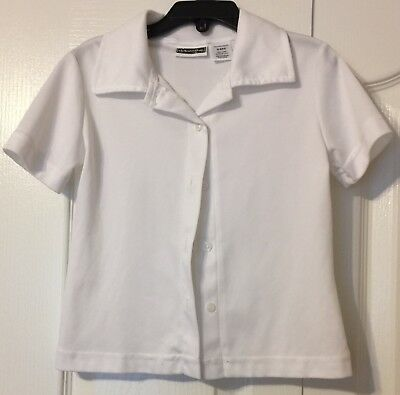 Girls White Unifor Short Sleeve Button Up Tops size 6/6x