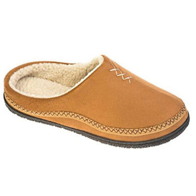 Coolers Mens Microsuede Soft Comfy House Shoe Tan Fur Lined Backless Slippers