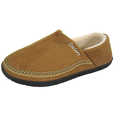 Coolers Mens Microsuede Soft Comfy House Shoe Tan Fur Lined Full Slippers NEW