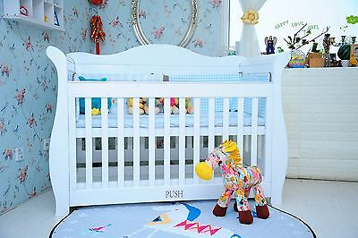 New 3 in1 l sleigh Baby Cot Bed crib Toddler Bed with Drawer & Mattress
