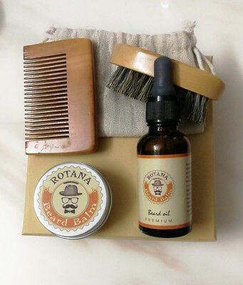 Beard and Mustache Grooming Kit-  Beard Balm, Oil, Comb, brush& Gift Bag