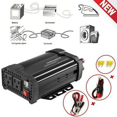 1000W 2000 Watt Peak Power Inverter DC 12V to AC 110V Car Truck USB Charger AB