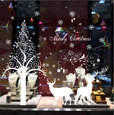 New snowflakes elk christmas living room windows and doors background decoration