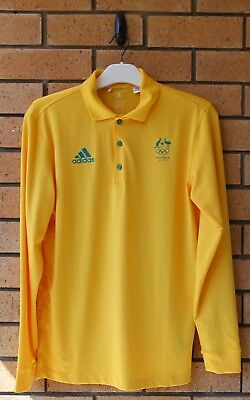 Team Issue Australia Olympic Team Adidas Rio 2016 Long Sleeve Polo Shirt Xs