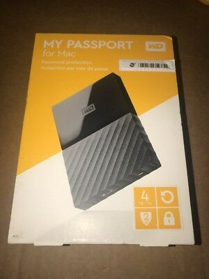 WD My Passport Portable Hard Drive for Mac 4TB  Black