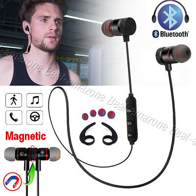 Sports Magnetic In-Ear Wireless Earphone Bluetooth 4.2 Stereo Headphones W/ Mic