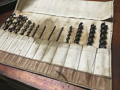 Vintage Irwin Auger Bits In Roll Bag (7) plus 6 extra Auger Drill Bits