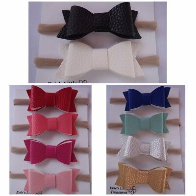 SALE Headband Faux Leather Bow Baby Newborn Toddler Girl Nylon Hair Accessories