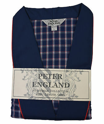 Peter England Navy Check Gown With Plain Collar