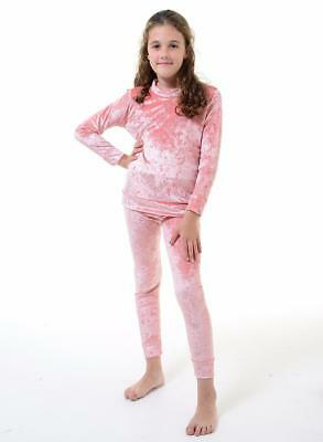 Kids Girls Childrens Crush Velour Velvet Lounge Suits Track Suits Two Piece Sets