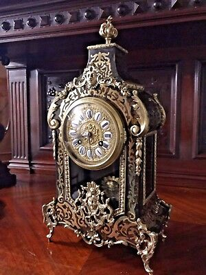 Beautiful Antique French Inlaid Boulle Mantel Clock 1880