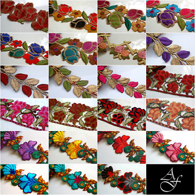 23 DESIGNS - Cotton Silk Embroidered Trims - 1/2 METRE - Costumes Appliques Tops