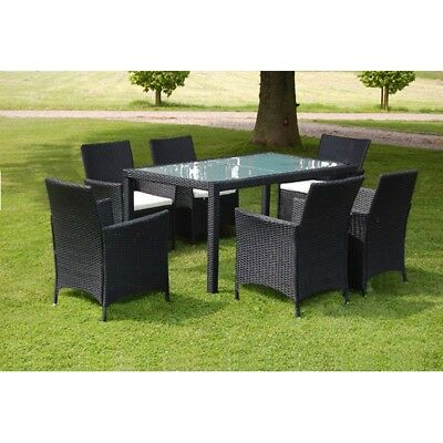 New Black Poly Rattan Garden Furniture Set 1 Table 6 Chairs Steel Aluminium PE