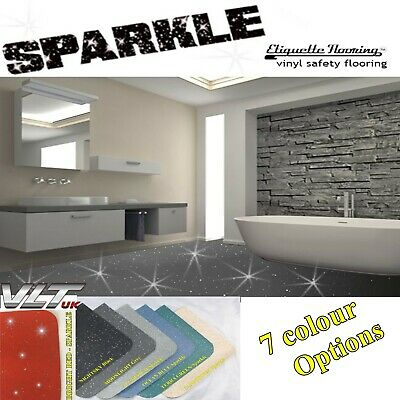 Grey Sparkle Safety Flooring Bathroom Floor Vinyl Lino Sparkly Glitter Wetroom