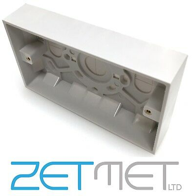White Plastic Twin Double 2 Gang 25mm Deep Surface Pattress Socket Back Box
