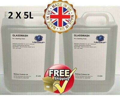 Professional Sparkling Glass Wash Cleaning Detergent Restaurant School Pub 2X5L