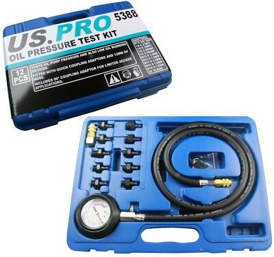 12pc ENGINE OIL PRESSURE TESTER by US PRO TOOLS Dual Scale Gauge Bar & PSI