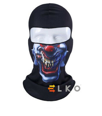 Angry Clown Skull Mask Balaclava Under Helmet Warm Airsoft Neck Warmer Halloween