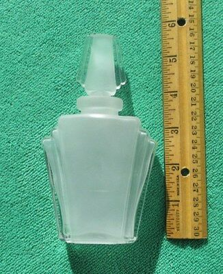 Vintage Art Deco Perfume Bottle with Stopper - Clear and Frosted