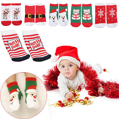 Baby Kids Christmas Anti-slip Looped Pile Ankle Socks Cotton Booties Shoes 1-3Y
