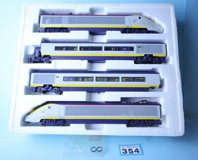Hornby 'oo' Gauge Eurostar Train 4 Car Pack Tested All Ok #354
