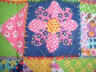 Vtg 60s Retro Pre Quilted Calico Floral Dresden Quilt Patch Fabric 2.8Yx42 #mc2