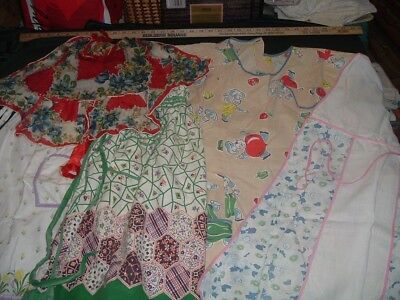 5 Vtg 50s Lot Ladies Aprons Half Full Cobbler Hankie Flour Sack Old Fabric#me460