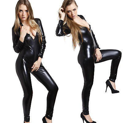 Nero Sexy Fetish Wetlook Mini Abito Tuta PVC Catsuit Halloween Cosplay Costume