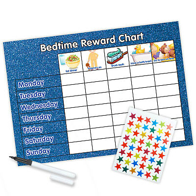 MAGNETIC Bedtime Reward Chart (including FREE Stickers and Pen) -Glitter Design