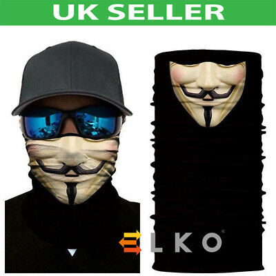 Multiuse Skulls Biker Balaclava Neck Tube Warmer Snood Scarf Face Mask Halloween