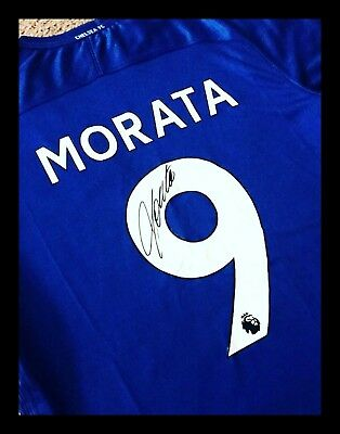 Alvaro Morata Chelsea Fc Hand Signed Football Shirts Authentic Genuine + Coa