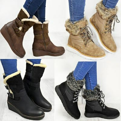 Womens Winter Ankle Boots Warm Fur Lined Walking Comfor Lace Up Ladies Size Snow