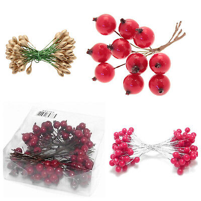 Artificial Wired Berries Wreath Decor Xmas Christmas Craft Floristry Making DIY