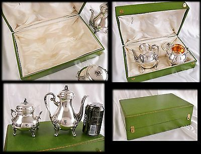 Antique French Sterling Silver Tea or Coffee set : 1 teapot 1 sugar bowl in case