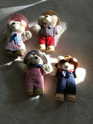 Rare Xavier Roberts Wendy's Collectible Furskins 4 Bears. 1986