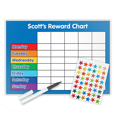 MAGNETIC Personalised re-usable Reward Chart- FREE stars & pen-choose colour