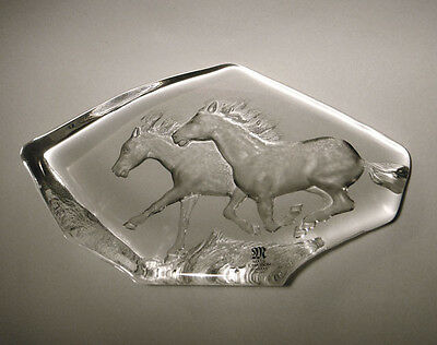 Mats Jonasson Crystal Galloping Horses Sculpture Signed With Label