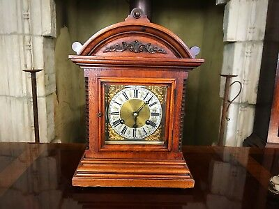 Early 20th Century German Walnut And Oak  Bracket Clock