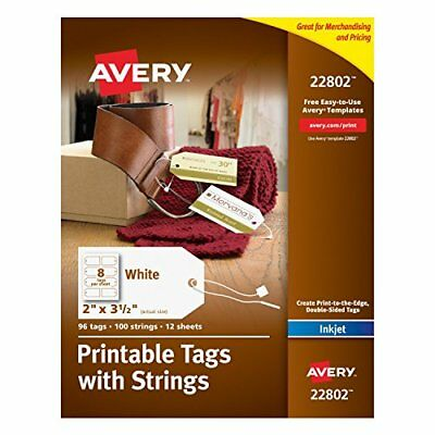 Avery Printable Tags with Strings for Inkjet Printers 2 x 3.5-Inches Pack of ...