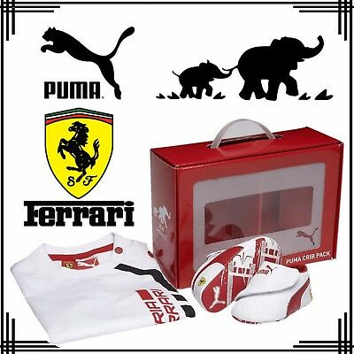 PUMA Ferrari Babies Shoes T-Shirt Clothing Gift Set Cute Baby Crib Pack White UK