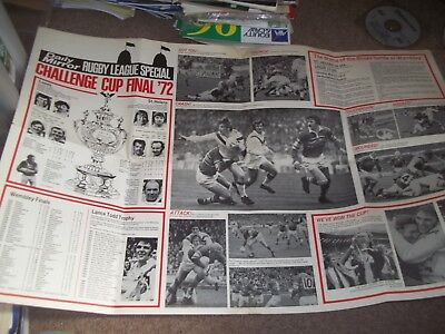 1972 Rugby League Challenge Cup Poster Leeds V St Helens Daily Mirror @ Wembley