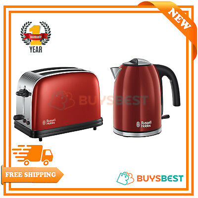 Russell Hobbs Colours 2-Slice Toaster & 1.7 Ltr Jug Kettle, Set - Red