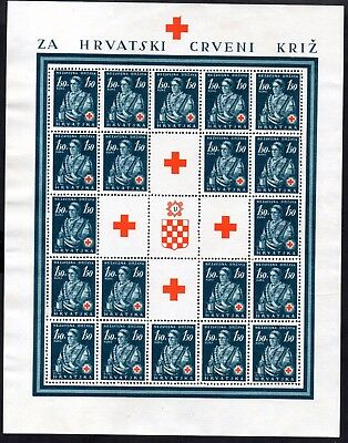 Croatia 1941 Red Cross in Complete Sheets - Unmounted Mint MNH sg 51-53