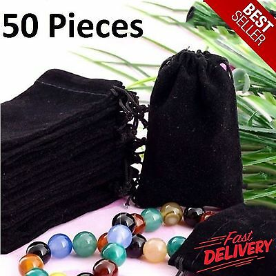 50 Bag Gift Small Black Velvet Cloth Jewelry Pouch Drawstring Ring Bracelet 4x3""