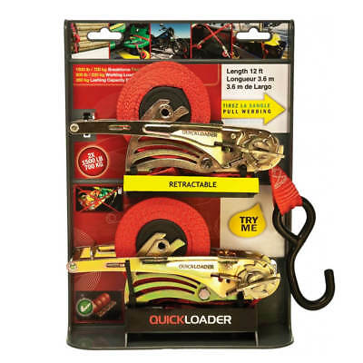 QUICKLOADER QL1500 1 in. x 12 ft. Retractable Tie-Down Strap 1500 lbs. (2 Pack)